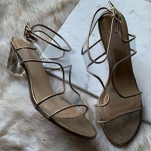 Stuart Weitzman / Silver Trim Lucite Sandal Heels